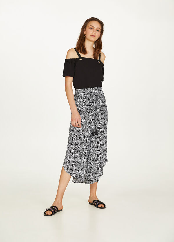 High-waisted crop trousers with print