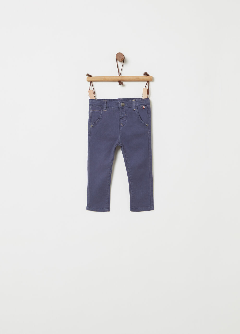 Stretch cotton trousers with five pockets