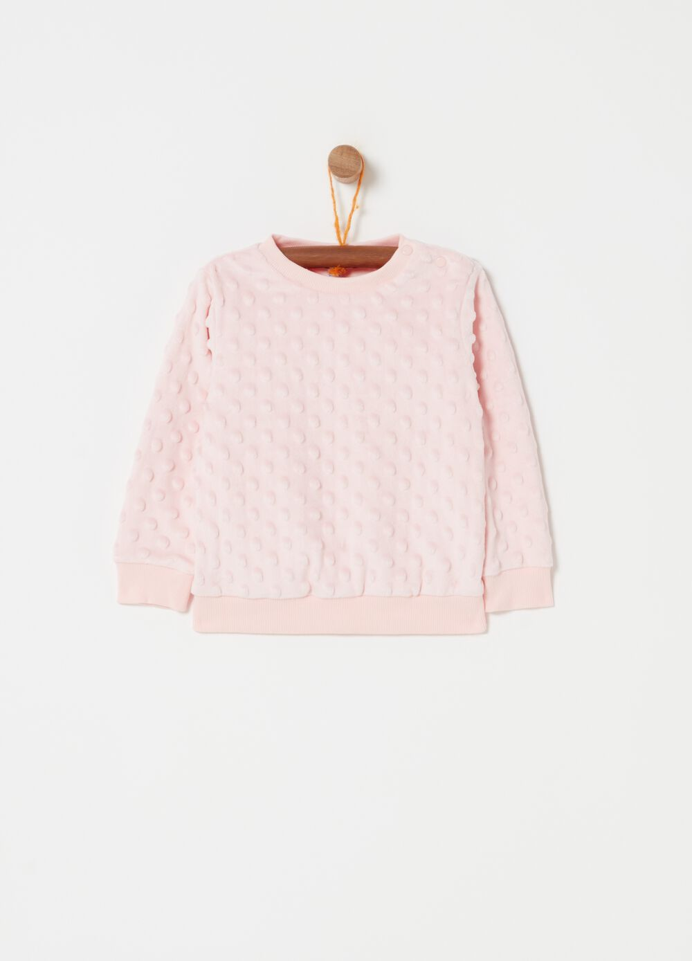 Crew-neck flocked-effect sweatshirt
