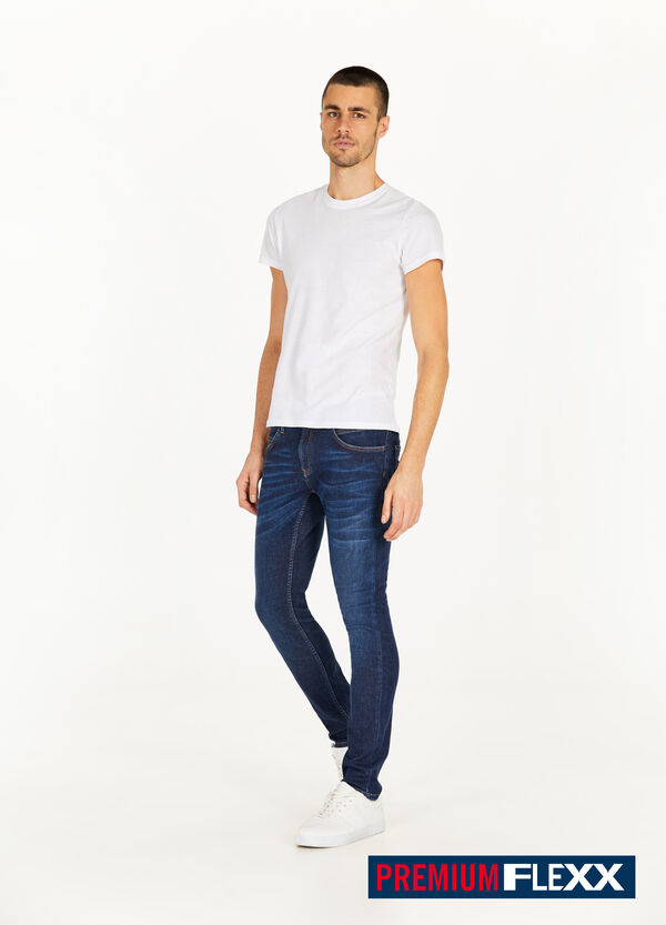 Slim-fit jeans with whiskering and fading