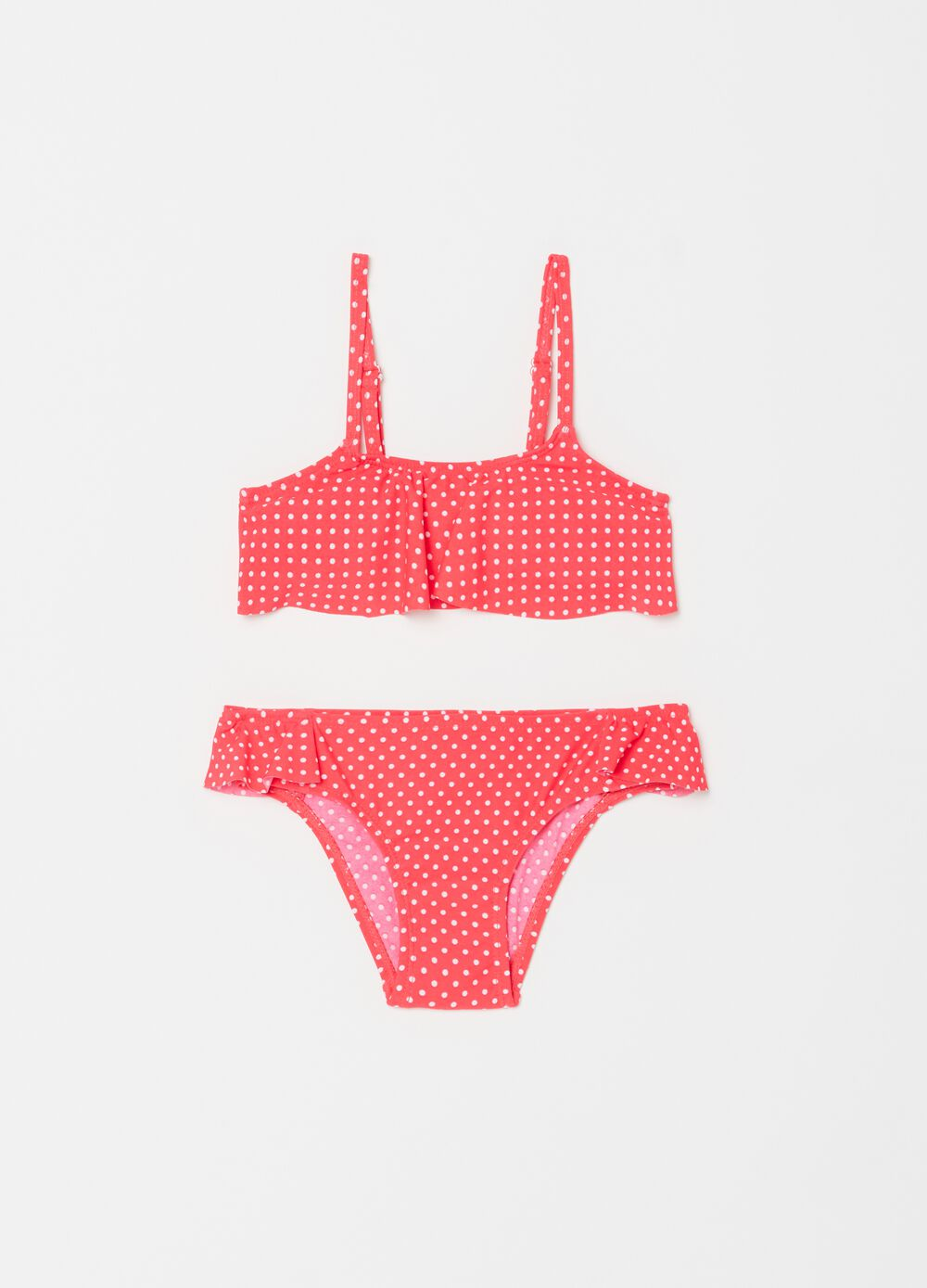 Stretch bikini with bandeau top and briefs with polka dot pattern