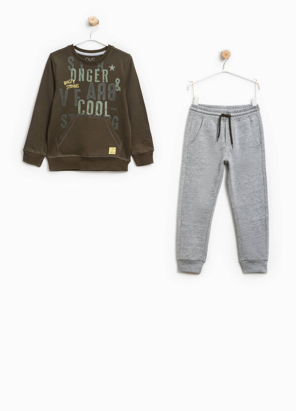 Cotton tracksuit with pouch pocket and print | OVS