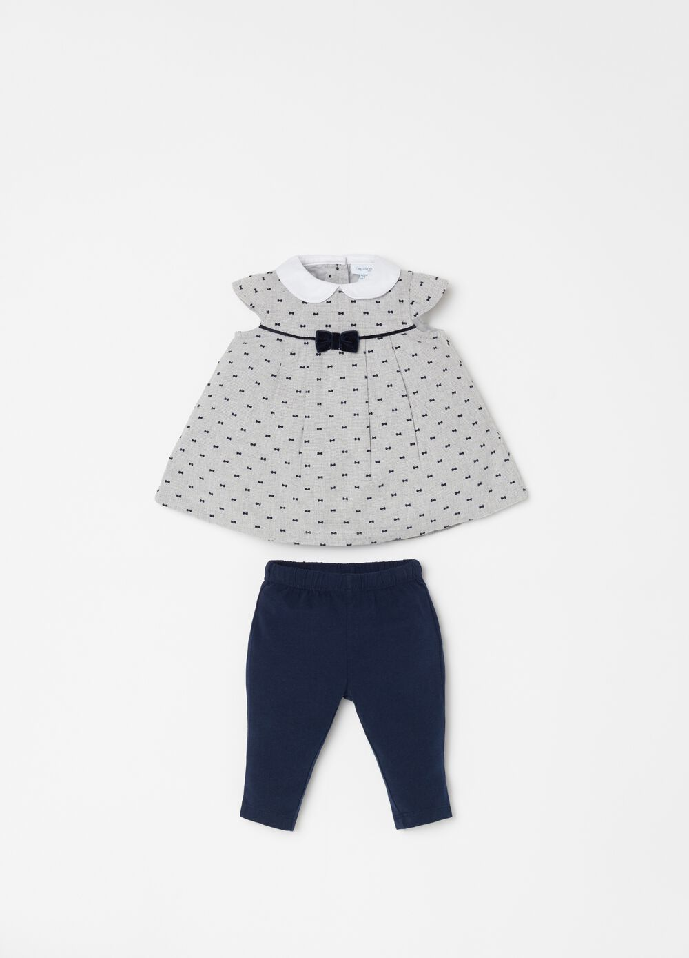 Leggings and dress set with embroidery