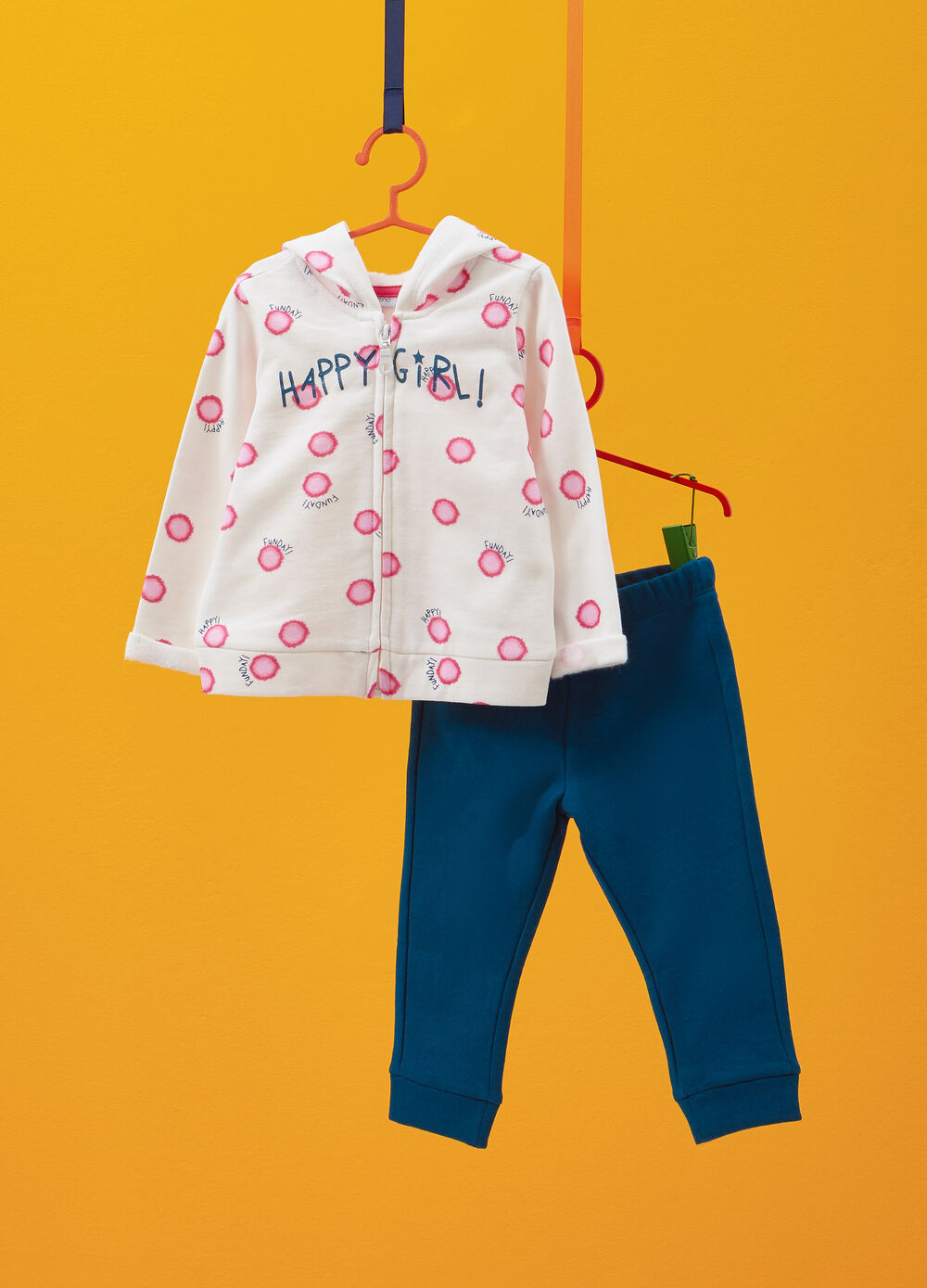 Cotton tracksuit with glitter and pattern print