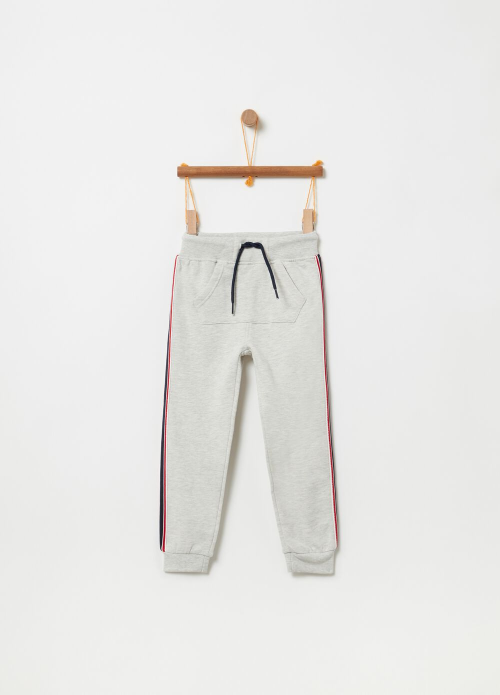 Mélange fleece trousers with pouch pocket