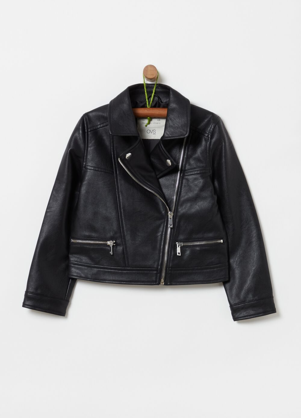 Faux leather jacket with pockets and zip