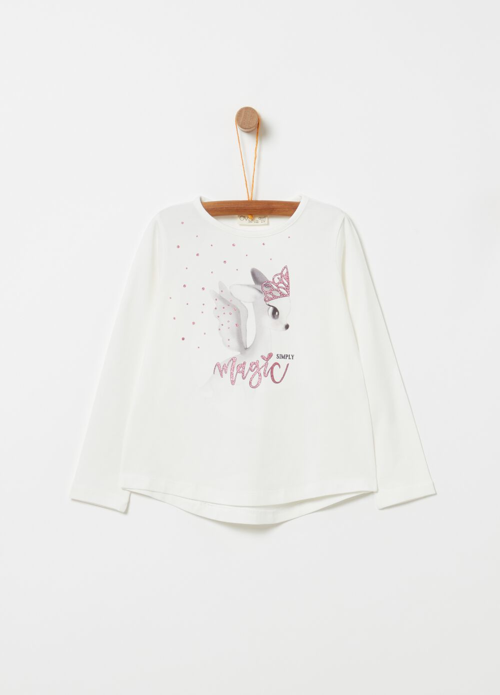 T-shirt with deer glitter print