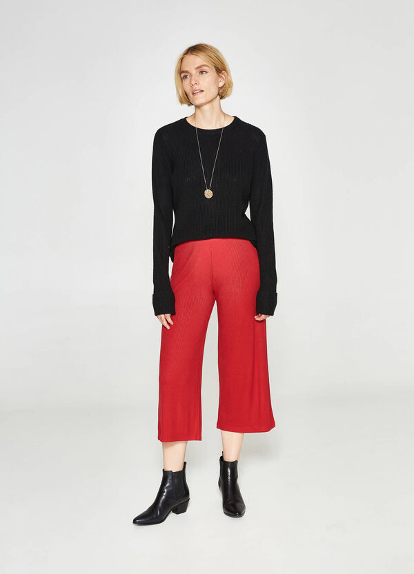 High-waisted crop trousers with ribbing | OVS