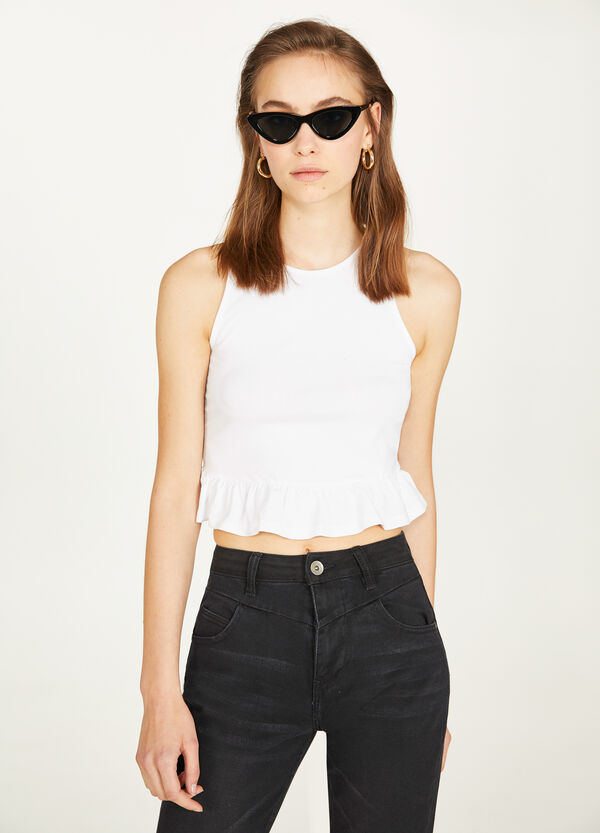 Stretch cotton crop top with flounce