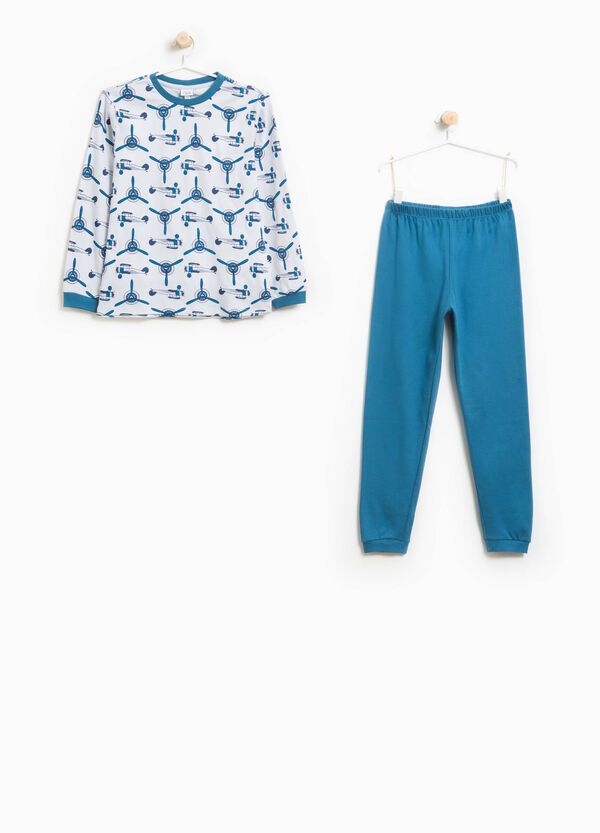 Organic cotton pyjamas with helicopter pattern