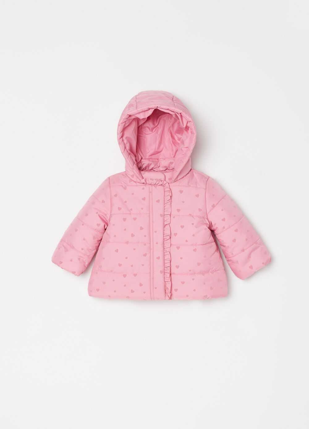 Padded jacket with hearts pattern