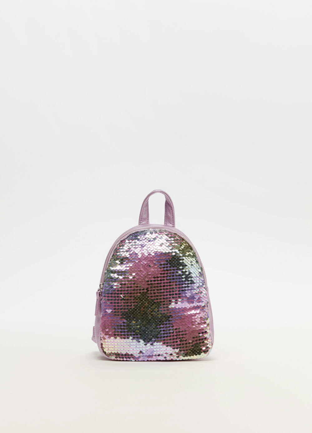 Backpack with sequins and zip fastening