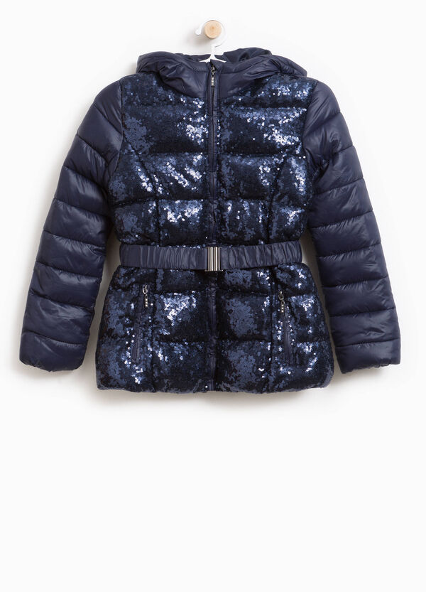 Down jacket with hood and sequins | OVS