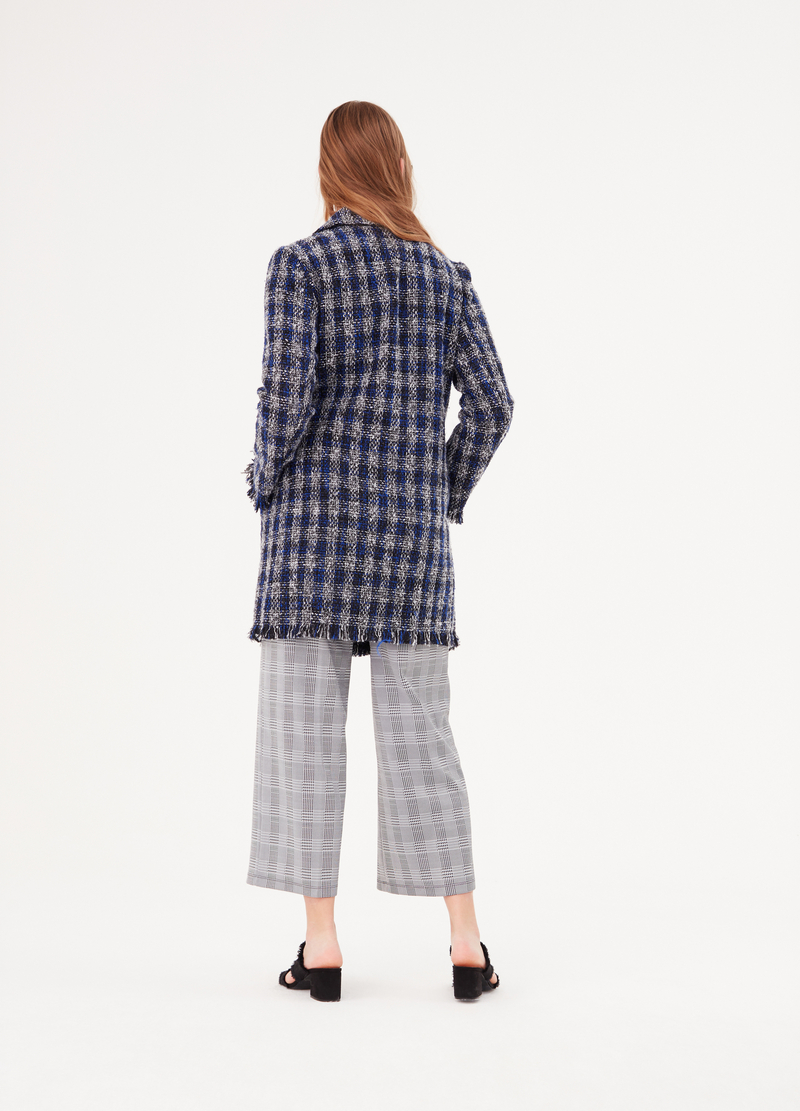 Check coat with fringed edges image number null