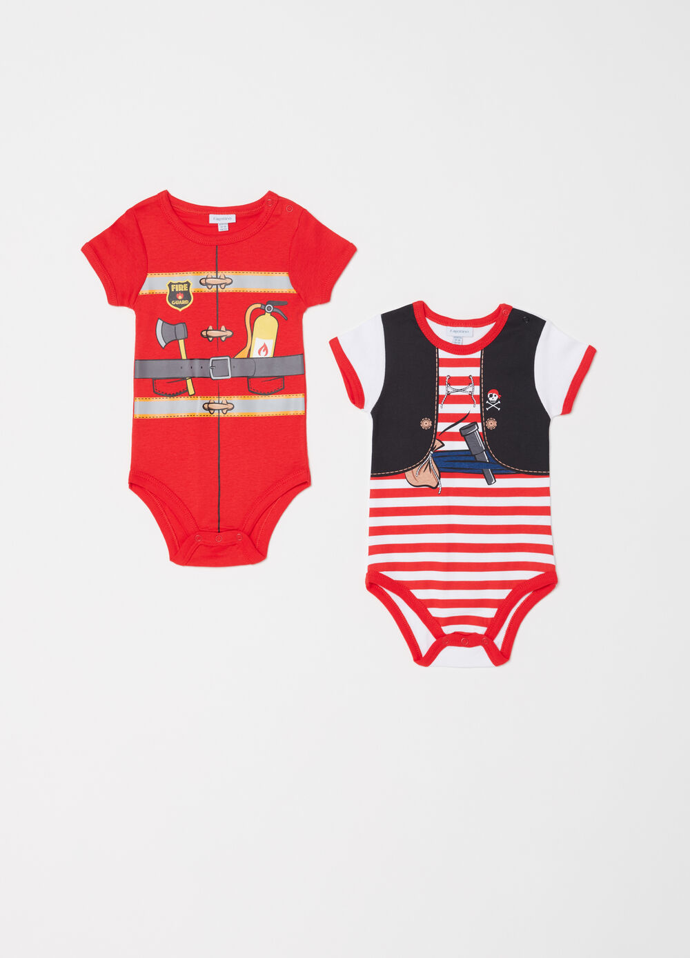 Two-pack short sleeves bodysuits in 100% cotton