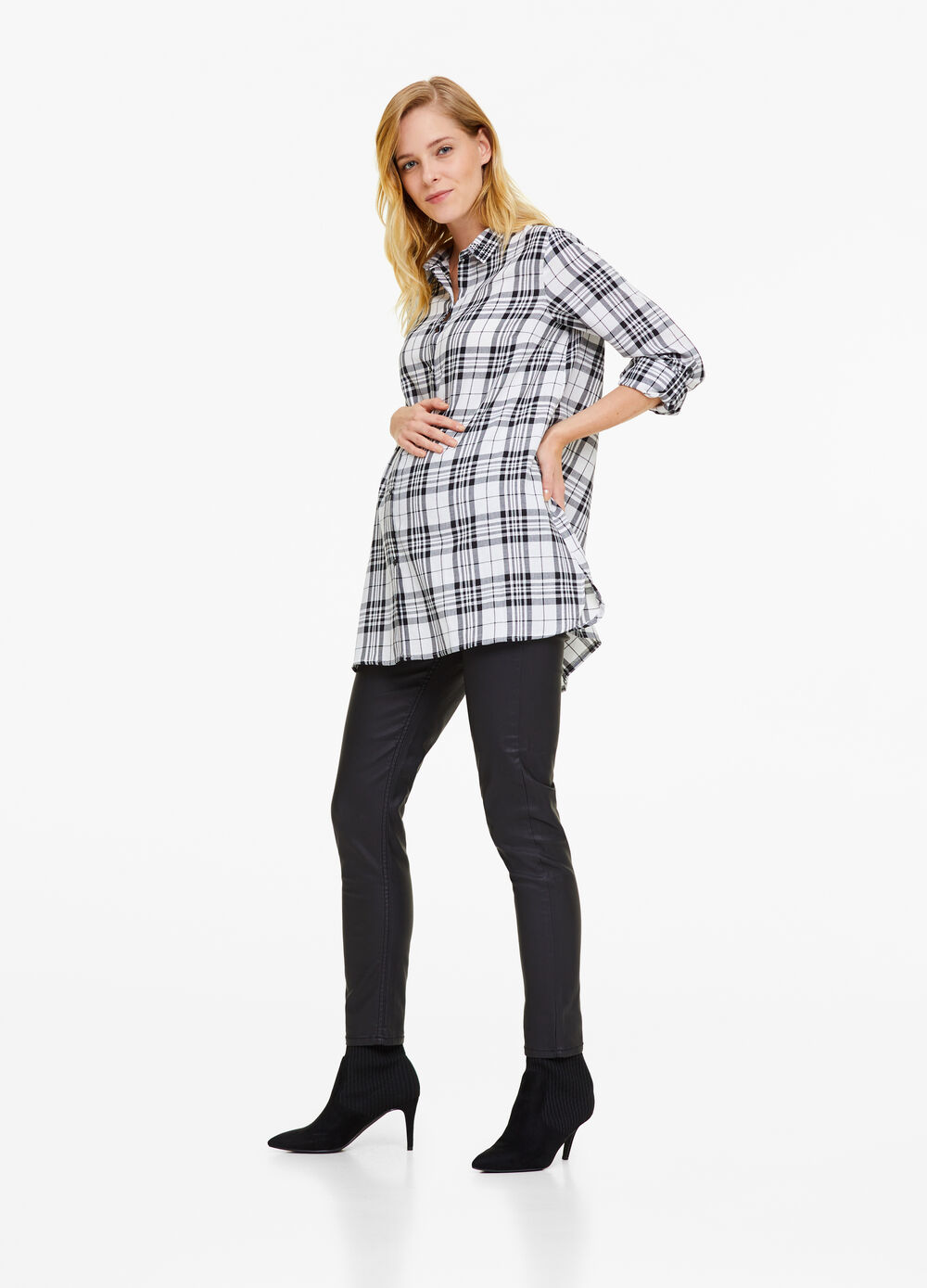 MUM check shirt in cotton blend