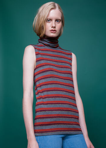 High-neck top with striped pattern