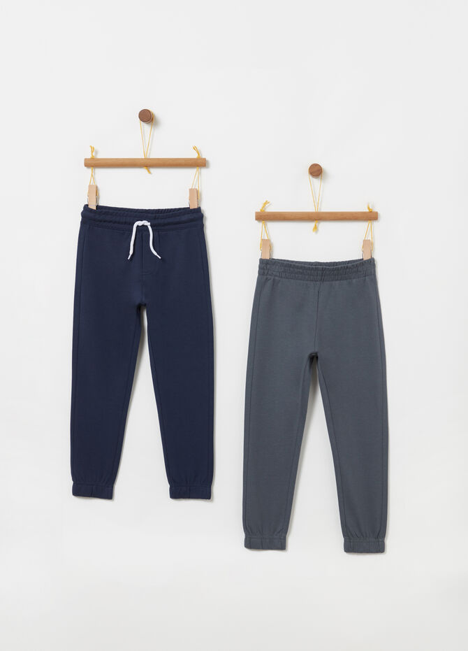Two-pack solid colour lightweight fleece trousers