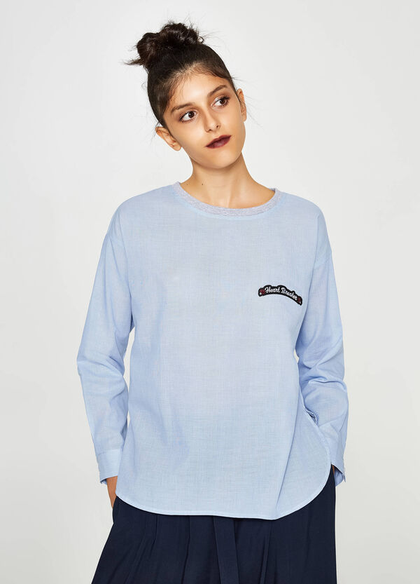 Shirt with round neck and printed lettering   OVS