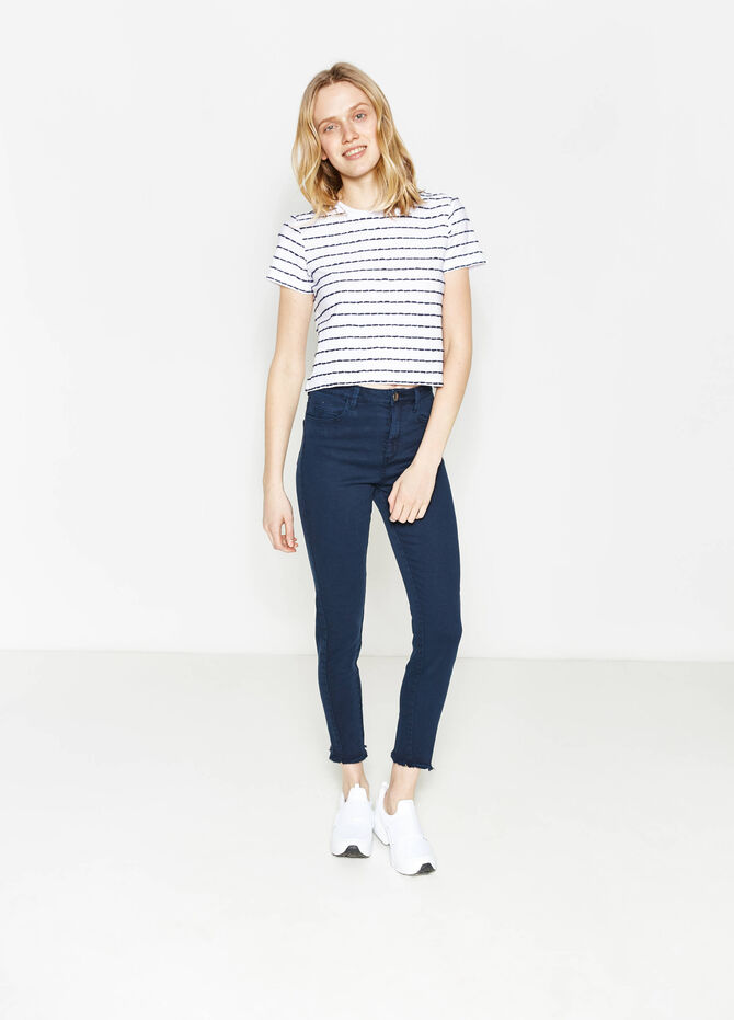 Stretch cotton trousers with fringed hem