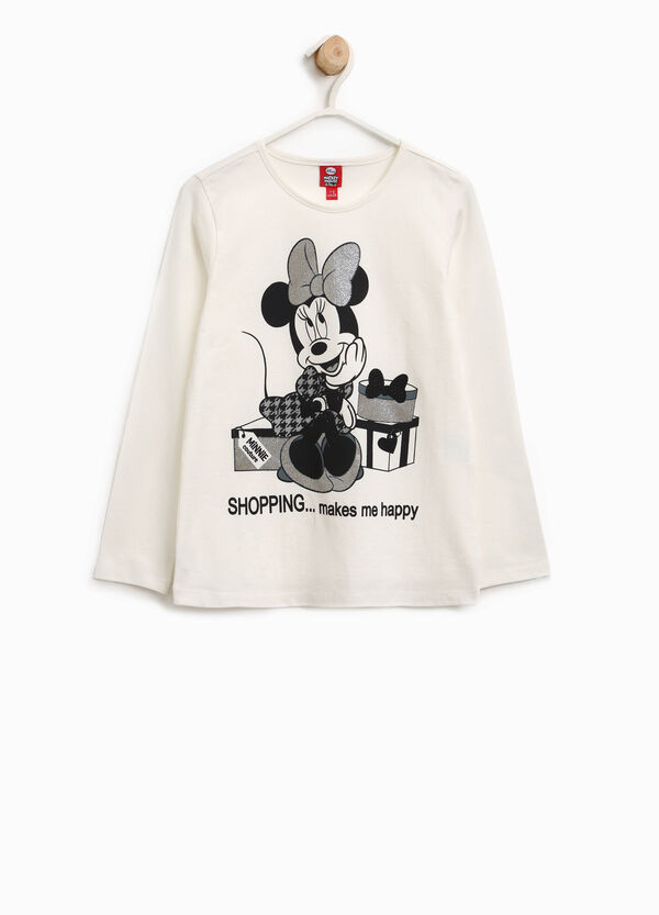 Stretch cotton T-shirt with glitter Minnie Mouse   OVS