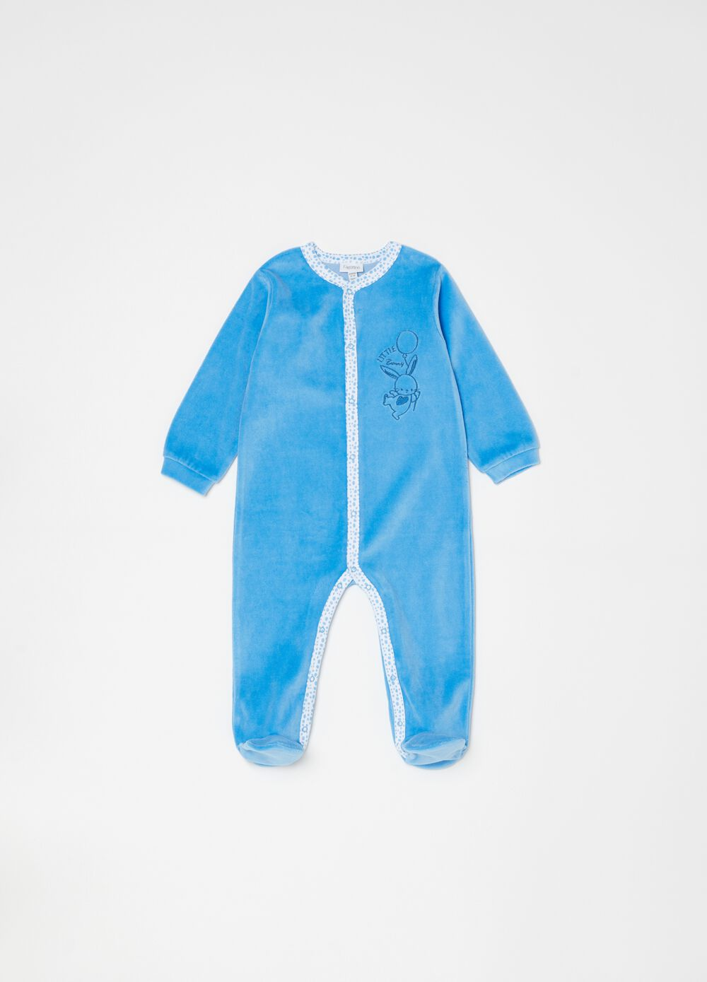 Onesie with feet, long sleeves and embroidery
