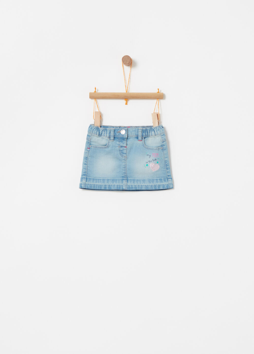Stretch denim skirt with glitter print