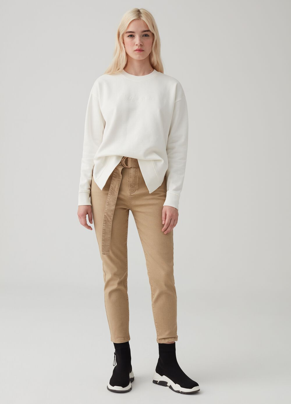 Stretch organic cotton paperbag trousers