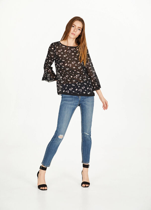 Semi-sheer printed blouse