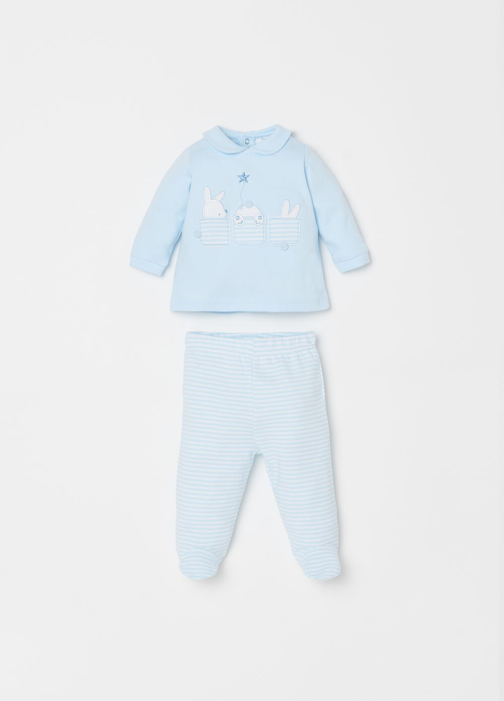 100% cotton T-shirt and trousers set with stripes