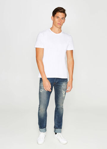 Worn-effect, slim-fit stretch jeans with rips