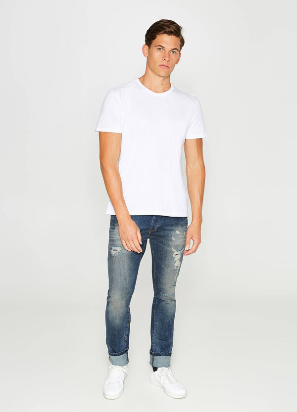 Worn-effect, slim-fit stretch jeans with rips | OVS