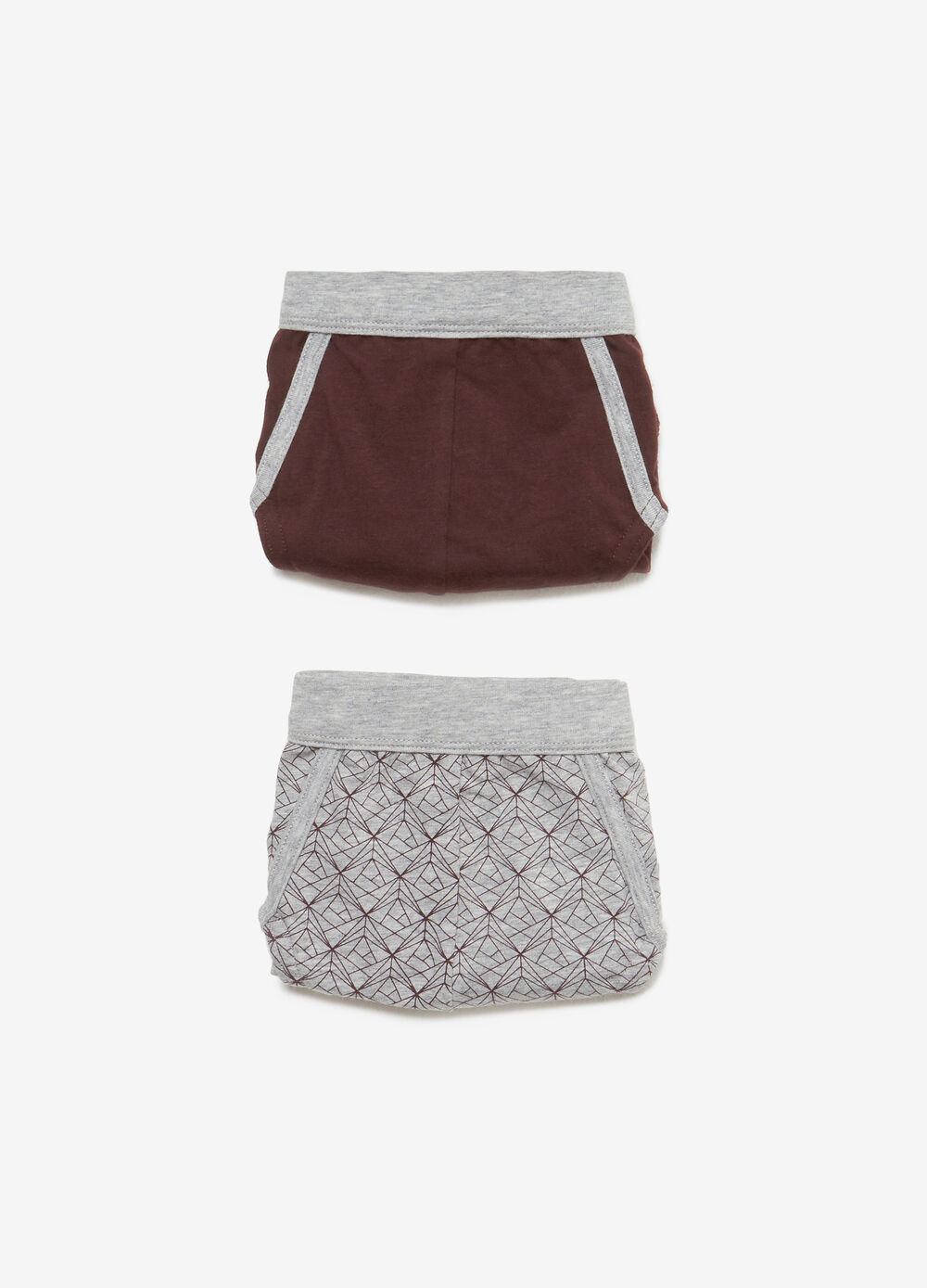 Two-pack patterned and solid colour stretch cotton briefs