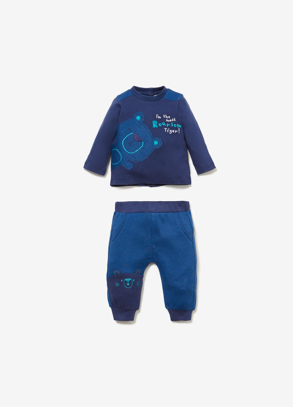 100% cotton outfit with patch and stripes