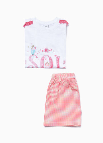 Cotton micro check pyjamas with print