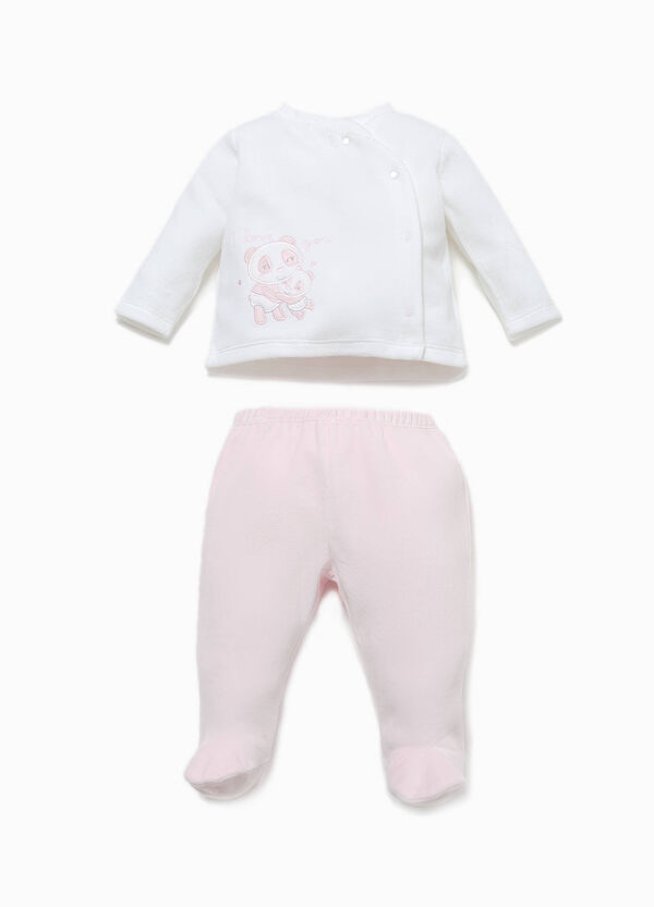T-shirt and baby leggings set with panda patch