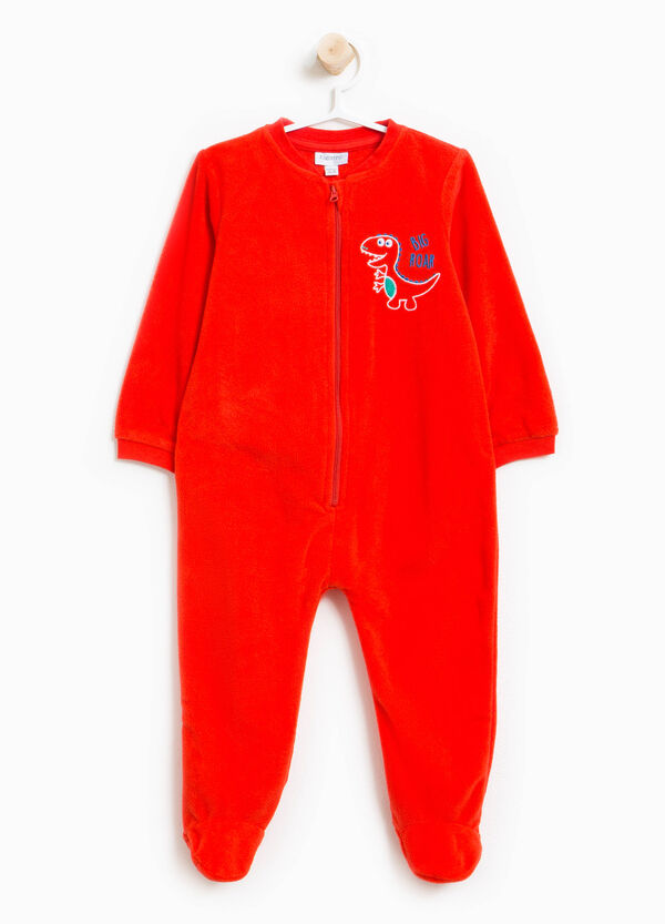 Sleep suit with feet and embroidery