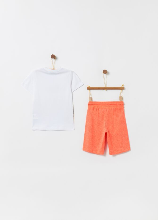 T-shirt and shorts jogging set with palm print