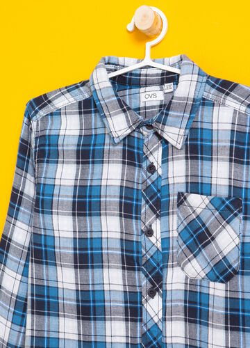 Flannel shirt with tartan pocket