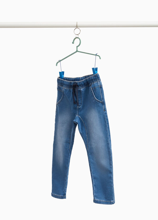 Faded jogger-fit jeans with drawstring