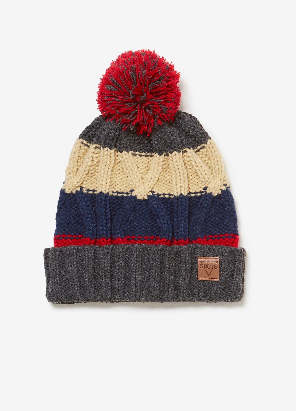 Striped hat with pompom and patch