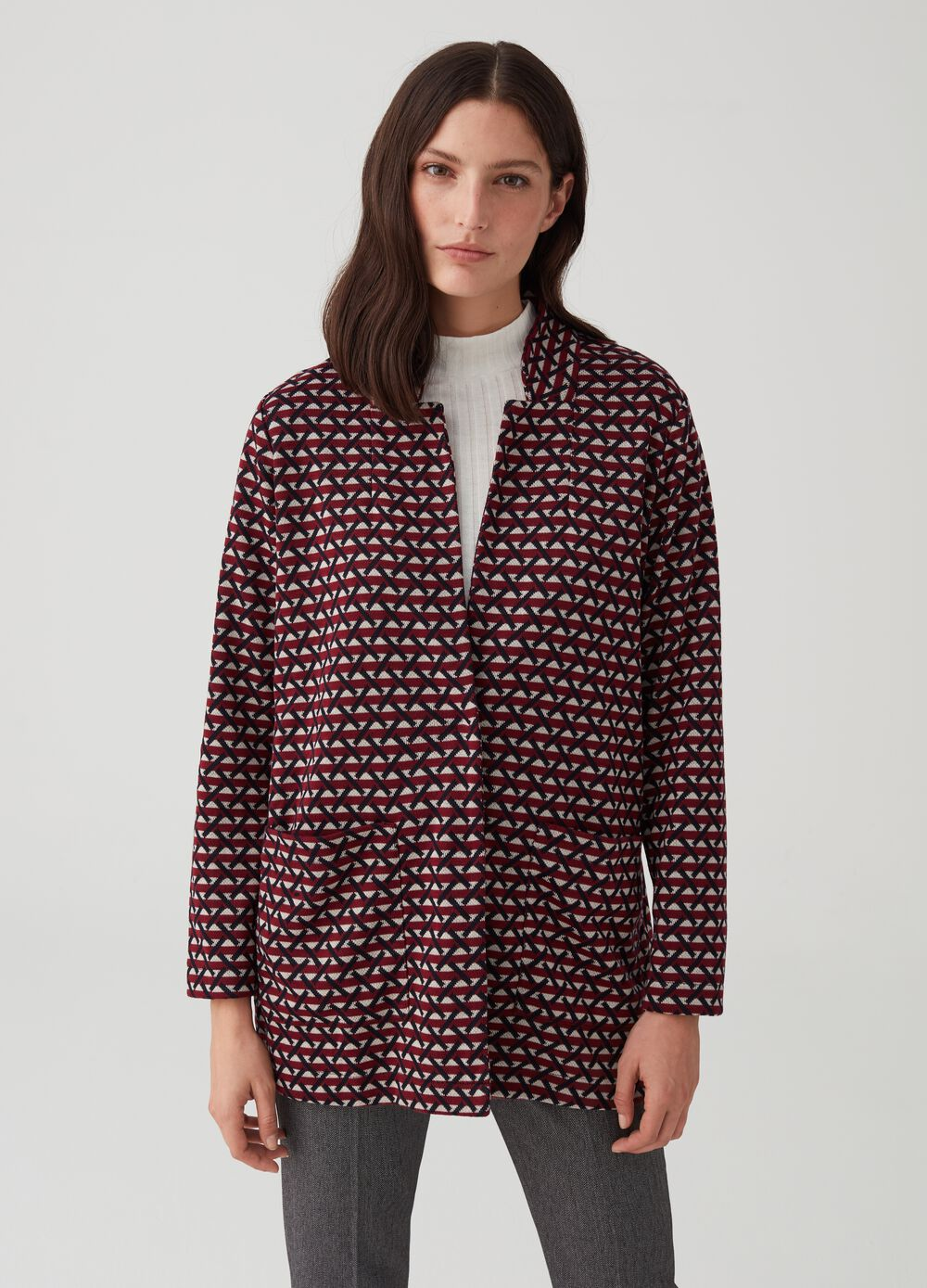 Cardigan with lapels and geometric pattern