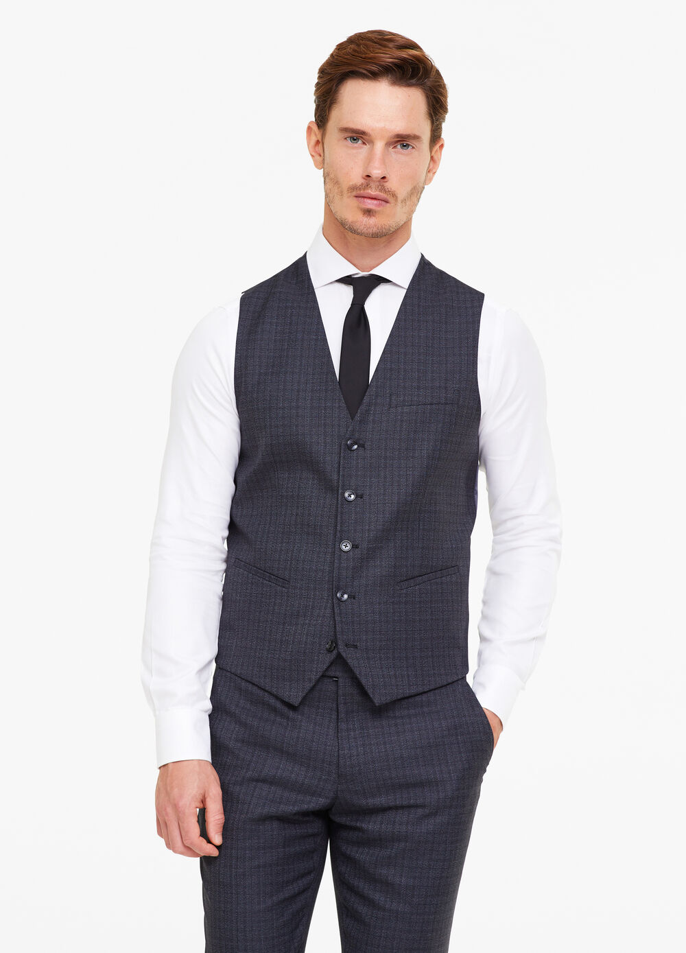 Five-button waistcoat with pattern