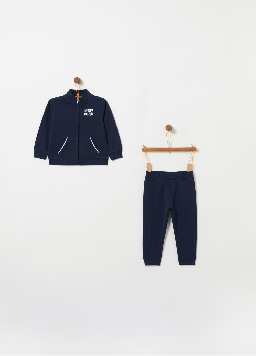 French terry jogging set with sweatshirt and joggers