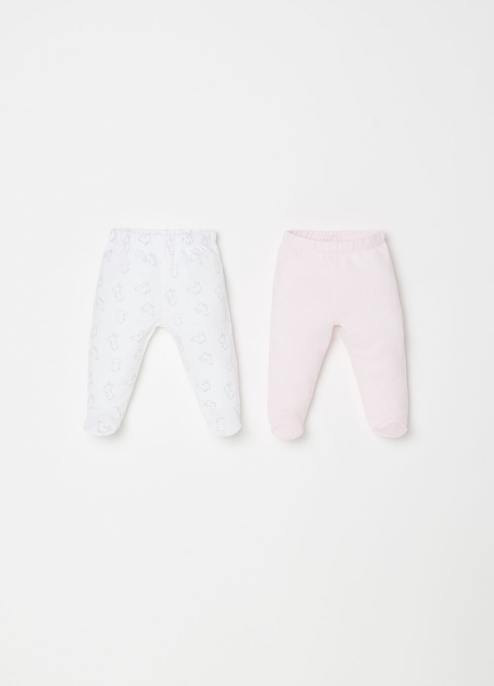 Two-pack 100% cotton leggings with rabbits