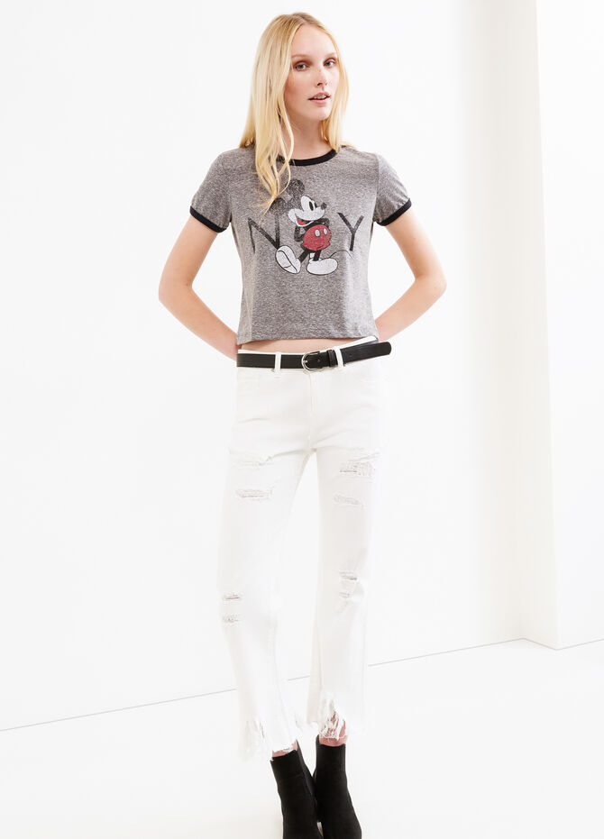 Crop T-shirt with Mickey Mouse print