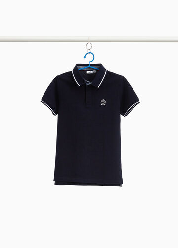 Stretch cotton polo shirt with splits