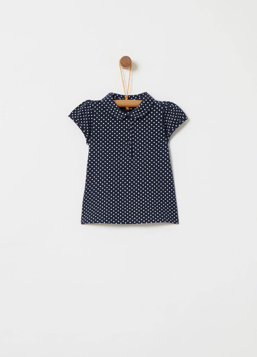 Stretch polo shirt with polka dot puff sleeves