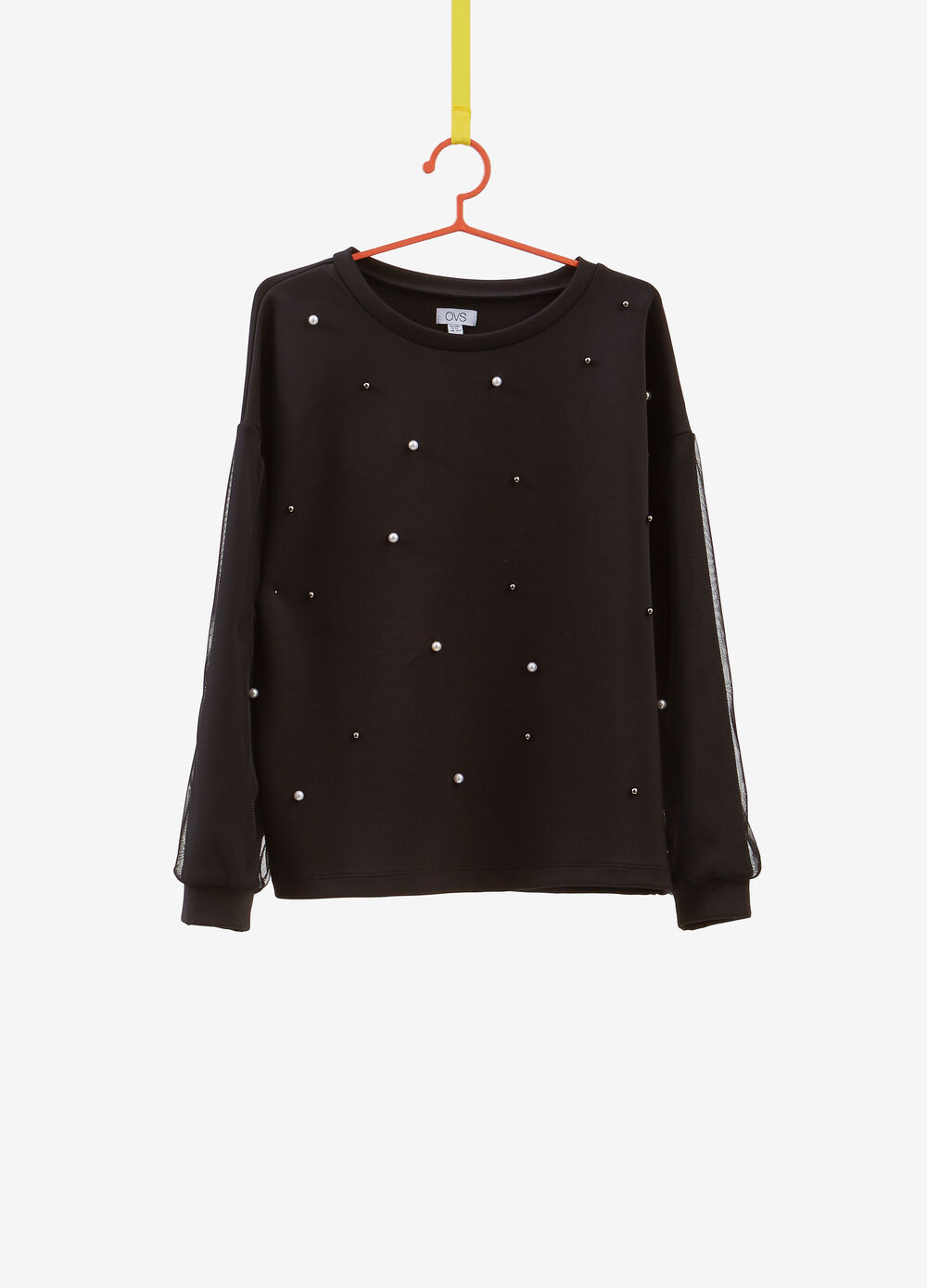 Solid colour stretch sweatshirt with beads
