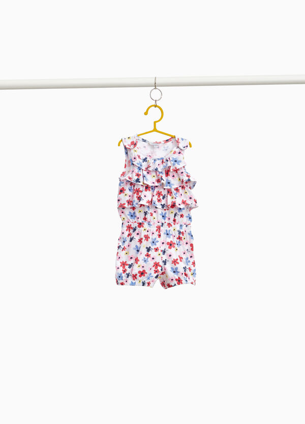 Floral stretch romper suit with flounce